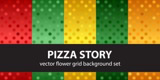 Histoire réglée de pizza de modèle de fleur Milieux sans joint de vecteur Images stock