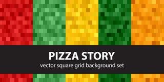 Histoire réglée de pizza de modèle carré Backgr géométrique sans couture de vecteur illustration de vecteur