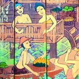 Histoires thaïlandaises traditionnelles d'art de style de religion photo stock