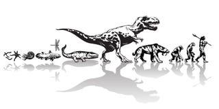 Historia życie na ziemi Linia czasu ewolucja od prehistorycznych zwierząt, dinosaur, saber uzębiony tygrys, małpa zawalać się ilustracji