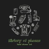 Historia av drog klotteruppsättningen för telefoner den hand skissar Vektorillustration för design- och packeprodukt symbol Royaltyfria Bilder