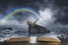 Historia bíblica de la arca del ` s de Noah fotos de archivo