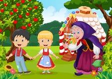 Historia clásica Hansel y Gretel de los niños Imagen de archivo libre de regalías