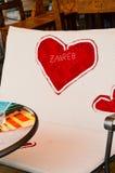 Historia de amor del interior de Caffe Foto de archivo libre de regalías