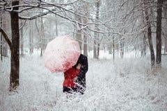 Historia de amor del invierno en rojo Foto de archivo libre de regalías