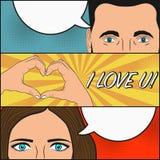 Historia de amor de la mujer y del hombre El diseño de página del cómic con discurso en blanco burbujea para el gesto del texto y ilustración del vector