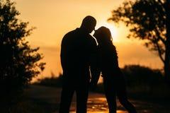 Historia de amor Pares en la puesta del sol Silueta imagen de archivo