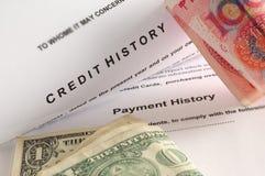 Historia de crédito. Fotografía de archivo libre de regalías