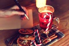Historia de la escritura de la mano de la Navidad Imagen de archivo