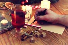 Historia de la escritura de la mano de la Navidad Fotos de archivo libres de regalías