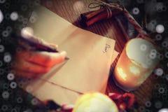 Historia de la escritura de la mano de la Navidad Imágenes de archivo libres de regalías