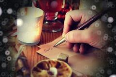 Historia de la escritura de la mano de la Navidad Imagen de archivo libre de regalías