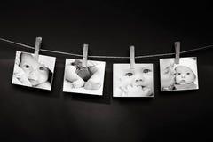 Historia de la foto del bebé y de la madre fotografía de archivo