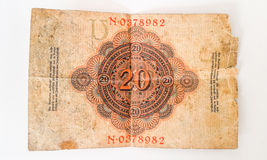 Historia de la marca alemana 1914 de Zwanzig del billete de banco - WW1 Foto de archivo libre de regalías
