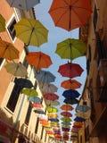 Historia de los paraguas en el cielo Fotografía de archivo