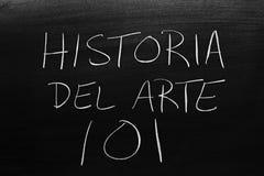Historia Del Arte 101 på en svart tavla Översättning: Art History 101 royaltyfria foton
