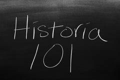 Historia 101 en una pizarra imagen de archivo