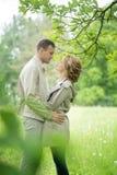 Historia miłosna, potomstwo para Jesień Romansowy związek Fotografia Stock