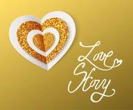 Historia miłosna - walentynka dnia kartka z pozdrowieniami Biel i złota papierowy serce tła dzień szczęśliwi valentines wektor ilustracja wektor