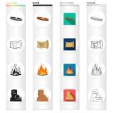 Historia, natura, ekologia i inna sieci ikona w różnym stylu, podróż, turystyka, rozrywek ikony w ustalonej kolekci ilustracja wektor