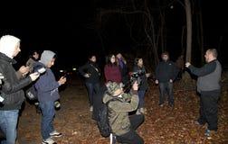 Historian talks history of Mount Misery Road. HUNTINGTON, NEW YORK, USA - NOVEMBER 14: Randy talks about the history of Mount Misery road during a meetup by the Royalty Free Stock Image
