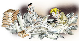 Historians studying ancient manuscripts. And artifacts ,comic illustration Stock Image
