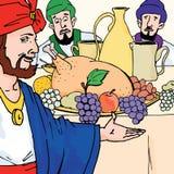 Historias de la biblia - la parábola del banquete de la boda stock de ilustración