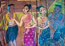 Historias tailandesas tradicionales del arte del estilo de la religión fotos de archivo libres de regalías