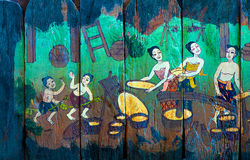 Historias tailandesas tradicionales del arte del estilo de la religión fotografía de archivo