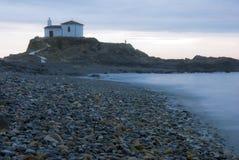 Historic. Hermitage catholic on the coast , Atlantic Ocean, Spain Royalty Free Stock Image