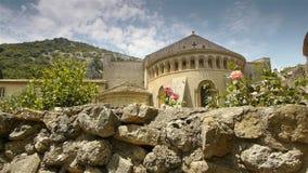 Historic abbey at St Guilhem le Desert, Cevennes France stock footage