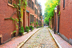 Historic Acorn Street at Boston Stock Images