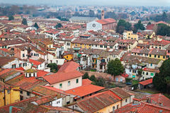 Historic aged medieval city of Lucca. Italy. View above the red old roofs of houses. Typical Italian architecture Royalty Free Stock Photography