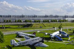 Historic aircraft on visitor Park at Munich Airport Stock Image