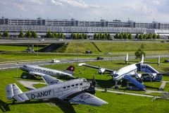 Historic aircraft on visitor Park at Munich Airport Royalty Free Stock Image