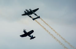 Historic Airplanes In Mid-Air Royalty Free Stock Images
