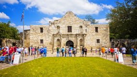 Historic Alamo in San Antonio, Texas with Tourists. Exterior view of the historic Alamo in San Antonio, Texas with tourists royalty free stock photo