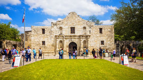 Historic Alamo in San Antonio, Texas with Tourists Stock Photo