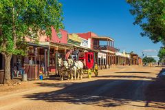 Historic Allen street with a stagecoach in Tombstone, Arizona stock image
