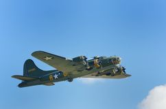 Historic American flying fortress in flight Stock Photo