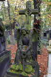 Historic Angel from the mystery old Prague Cemetery, Czech Republic Royalty Free Stock Images