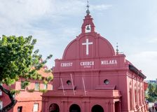 Historic Anglican church in Malacca. The landmark Christ Church in downtown Melaka Malacca Malaysia Stock Photo