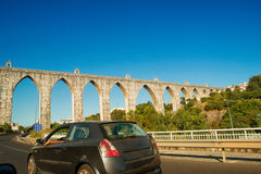 Historic aqueduct in the city of Lisbon built in 18th century, P Royalty Free Stock Image