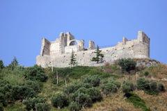 Old fiumefreddo castle. The historic aragonese castle of fiumefreddo del bruzio in italy stock photo