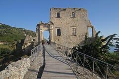 Fiumefreddo facade castle. The historic aragonese castle at fiumefreddo del bruzio in south italy royalty free stock image