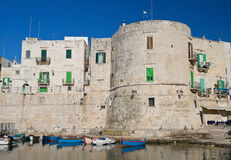 Historic Aragonese Tower on sea. Aragonese Tower. Giovinazzo town. Apulia Royalty Free Stock Photos