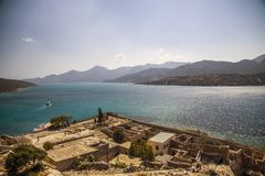 Historic architectural buildings on the island of Spinalonga. Buildings in the Spinalonga fortress in Crete, Greece. Historic architectural buildings on the royalty free stock photography
