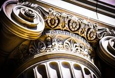Historic architectural column. Closeup of ornate historic architectural column Stock Photography