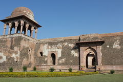 Historic architecture, baz bahadur palace, mandav, madhyapradesh, india. The palace is built on the hill- slope to the east of the rewa - kund. on the entrance Stock Image