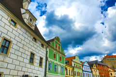 Historic architecture in the center of Cesky Krumlov Royalty Free Stock Photo